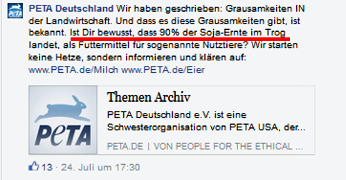 Screenshot PeTA Facebook-Seite 26.07.2015