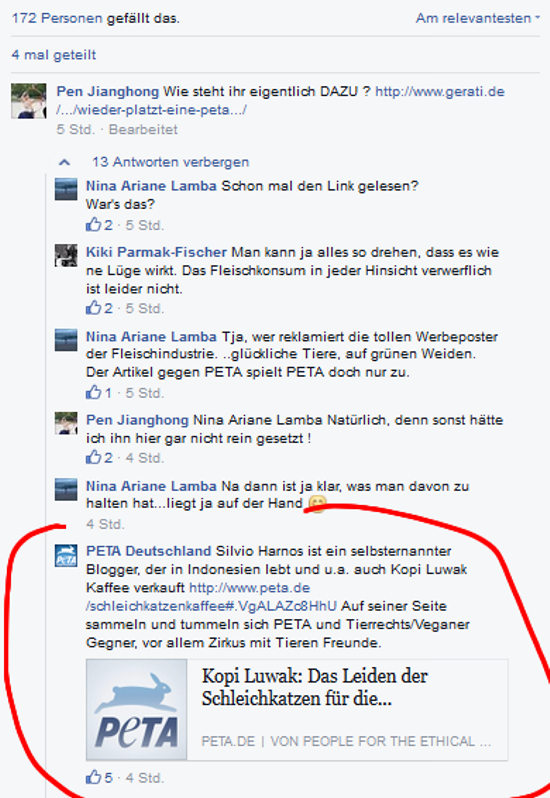 Screenshot PeTA Facebook-Seite