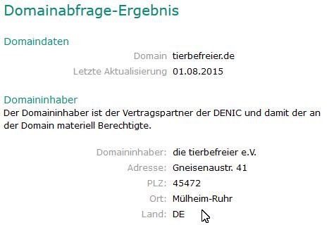 Auszug des Screenshot DENIC vom 14.09.2015