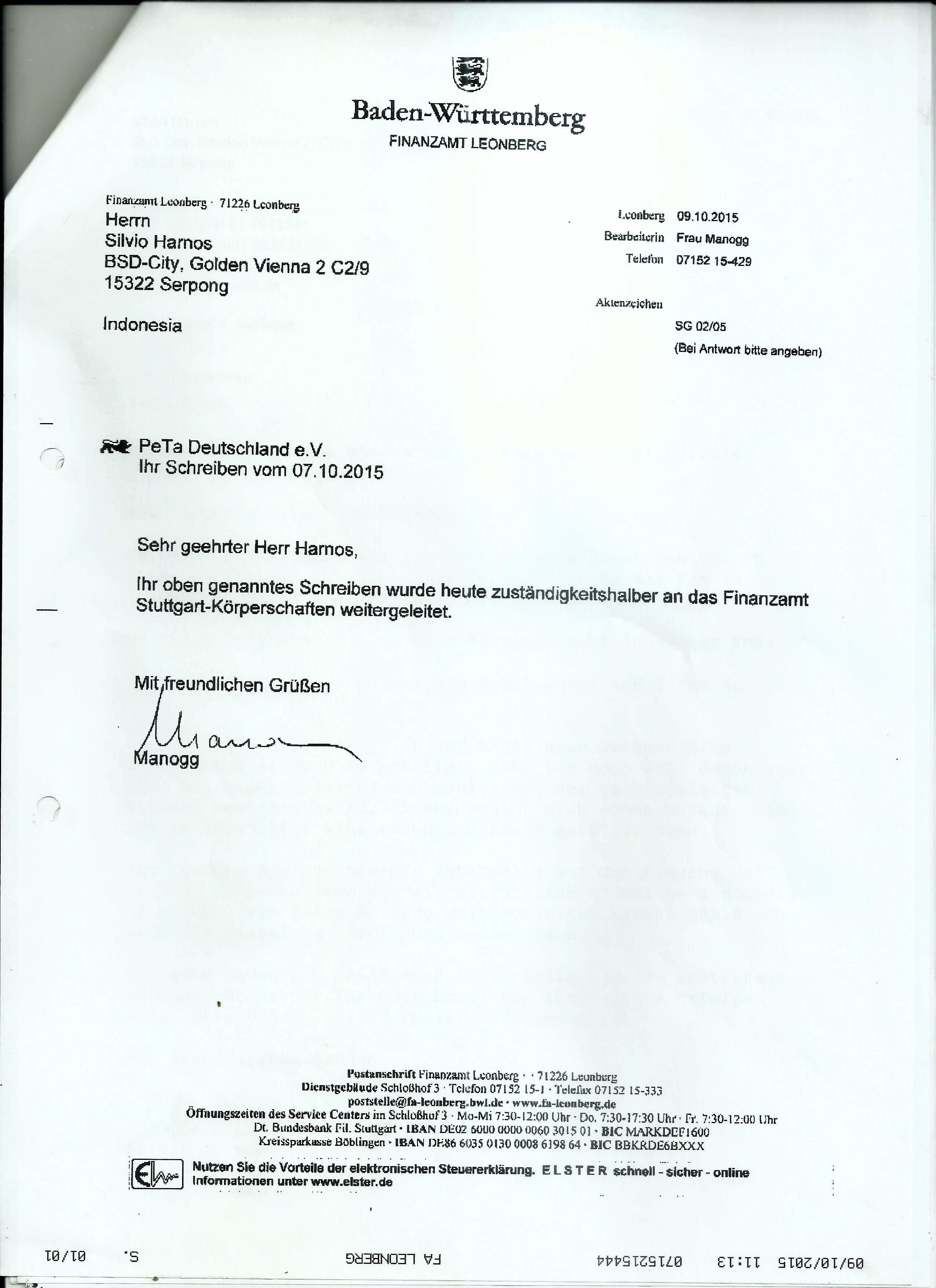 Antwortschreiben des Finanzamtes Leonberg vom 09.10.2015