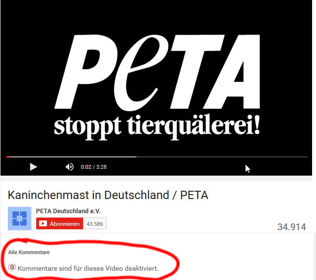 Screenshot YouTube Channel PeTA Deutschland