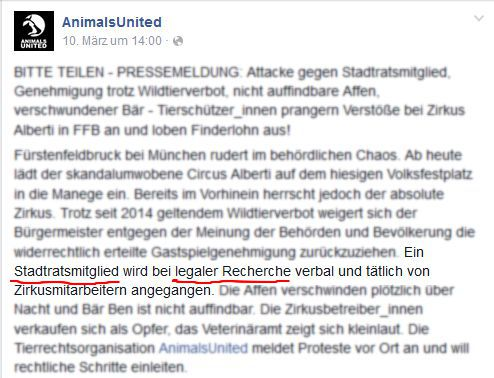 Screenshot Facebook AnimalsUnited
