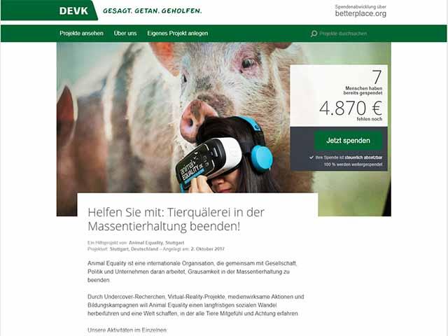 DEVK sammelt Spenden für Straftäter / Screenshot http://www.pack-mit-an.de/projects/57392#imprint